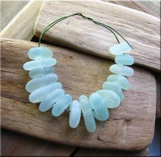16 Natural sea glass beads, middle drilled, chunkies, supplies (15) £14.40