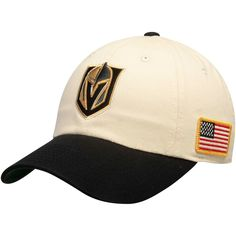 Vegas Golden Knights American Needle United Slouch Adjustable Hat -  Cream Black 04e6cc3ead13
