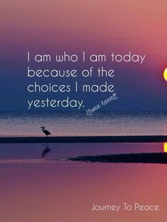 I am who I am today because of the choice I made yesterday.