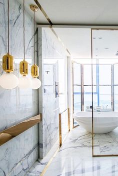 Get the best luxury marble bathroom inspiration for your interior design project. Modern Marble Bathroom, Small Bathroom, Marble Bathrooms, Master Bathroom, Marble Room, Minimal Bathroom, Master Baths, Brass Bathroom, Bathroom Cabinets