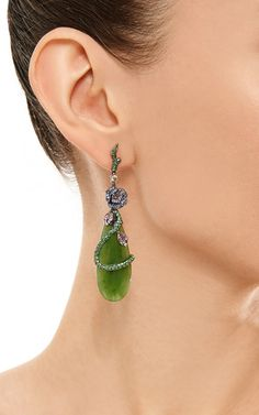 Diamond And Green Jade Earrings by Wendy Yue for Preorder on Moda Operandi