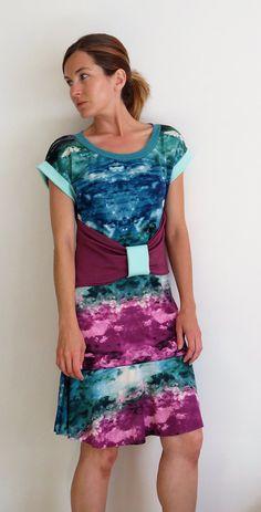 7fe3cdaa33 Spicy Toast Galaxy Sky Bow Belt Dress pink blue teal green stretch