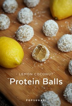 These lemon coconut protein balls are made with just 5 ingredients: raw almonds, vanilla protein powder, juicy dates, lemon juice, and unsweetened coconut. How simple is that? And just 49 calories apiece!