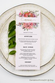 Spring Flowers Menu template for immediate download. Customise to your hearts desire.#outdoorwedding #pinkwedding #teainvitation