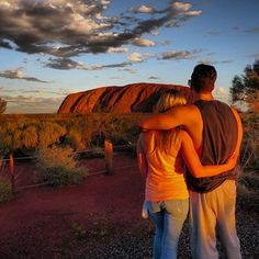 Jesse and Jeana kicking at the Rock in Uluru Australia.