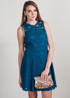 As chic and classic as they come, Adelyn Rae's lace-rendered dress touts a feminine, fit-and-flare cut accented with eyelash lace trim for a charming look, day or night.
