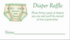 Diaper raffle ideal for baby shower