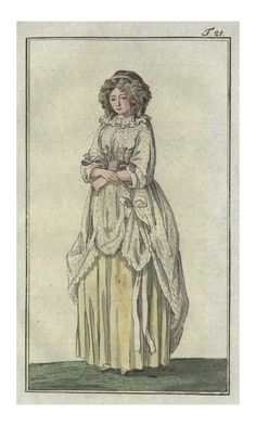 Journal des Luxus, 1789.    Interesting take on the Chemise Dress.  I've never seen on rucked up in the front like that!