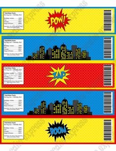 INSTANT DOWNLOAD diy Super Hero Birthday Printable Party Water Bottle labels blue red yellow city towers- Cupcake Express