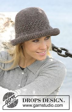 Crochet Hats Design Ravelry: Crocheted hat pattern by DROPS design - Crochet Hat With Brim, Crochet Adult Hat, Bonnet Crochet, Crochet Summer Hats, Crochet Beanie Pattern, Knitted Hats, Knit Crochet, Crochet Hats, Free Crochet