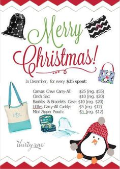 December Specials- Visit my website at www.mythirtyone.com/mprecht