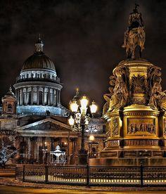 Beautiful night in Saint Petersburg, Russia: St. Isaac's Square.