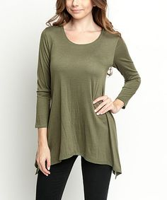 Look at this #zulilyfind! Caralase Olive Handkerchief Tunic by Caralase #zulilyfinds