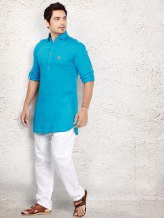Blue cotton dressy pathani suit - G3-MPS0359  7aa61e906f35b