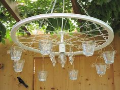 Für die Terasse oder als Stubenhängelampe, im Shabby Stil. … For the terrace or as a living room lamp, in Shabby style. If desired also in other colors. Lights Wallpaper, Recycling, Table Cafe, Bicycle Art, Bicycle Wheel, Wagon Wheel, Pot Jardin, Garden Deco, Room Lamp