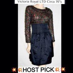 Victoria Royal Ltd Black Silk/Satin Cocktail Dress