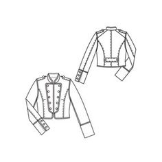 Cropped Jacket with Lapel Embellishments                                                                               More