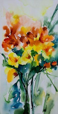 Petit instant N°198-Freesias (Peinture),  10x20 cm par Véronique Piaser-Moyen Aquarelle originale sur papier 300 G