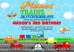 Plane, Train, Automobile, Car, truck Transportation themed birthday invite printable $10