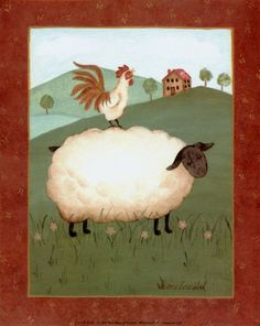 Sheep with Rooster Print