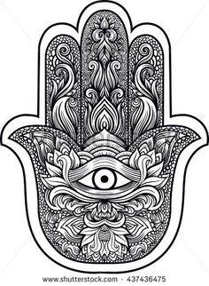 Indian hand Hamsa or hand of Fatima with third eye,good luck charm, hand drawn mehendi zentangle boho chic line art vector illustration.Tattoo,coloring,t-shirt design Forearm Mandala Tattoo, Mandala Elephant Tattoo, Mandala Flower Tattoos, Fatima Hand Tattoo, Hand Of Fatima, Body Art Tattoos, Hand Tattoos, Maori Tattoos, Ahimsa Tattoo