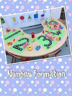 Practising number formation on number roads Maths Eyfs, Eyfs Classroom, Eyfs Activities, Nursery Activities, Activities For Kids, Numeracy, Numbers Preschool, Math Numbers, Preschool Classroom