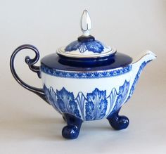 Cobalt Blue and White Teapot by Bombay China Company