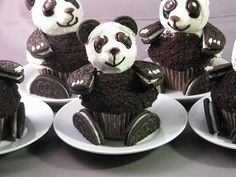 Make the cutest and most adorable Panda Bear cupcakes. Most of these Panda cupcakes are made with Oreo cookies or candies. Find great panda cupcake...