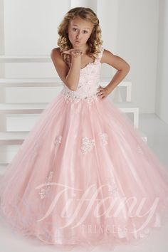 Tiffany Princess 13417 Girls Tulle Lace Ballgown - French Novelty