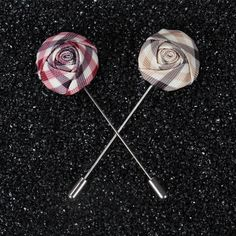 New Popular Men Broches Summer Style Men Lapel Pin Brooches Rose Flower Suit Wedding Flower Short Pin Flower Broche Fabric Flower Brooch, Fabric Flowers, Rose Boutonniere, Flower Shorts, Plaid Fabric, Handmade Flowers, Lapel Pins, Brooch Pin, Hair Accessories