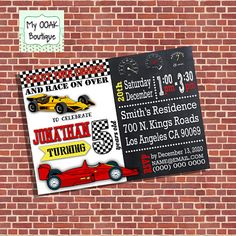 Racecar birthday invitation race car party by myooakboutique