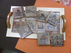 Bandeja de madera decorada con acrílicos y decoupage con papel de arroz.