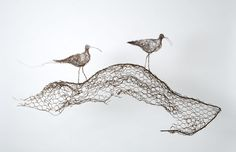 "Celia Smith, wire drawing ""curlew calling"", via DailyArtMuse"