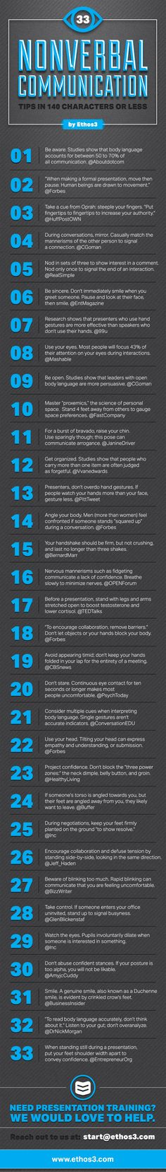 33 Nonverbal Communication Tips, in 140 characters or less by Ethos3 | Presentation Design and Training via slideshare