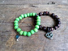 Mens brown and light green wooden beaded stretch bracelets with brass charms SET OF 2 by EmilDesign on Etsy Handmade Market, Handmade Gifts, Craft Sale, Stretch Bracelets, Turquoise Bracelet, Charms, Great Gifts, Fashion Jewelry, Brass