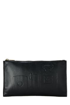 956cea7ca68e Chanel Embossed Cosmetic Pouch - What Goes Around Comes Around Cosmetic  Pouch, Lambskin Leather,