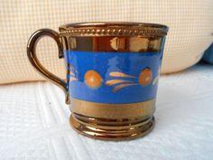"Antique Copper Luster Lustre Ware Childrens Mug Blue Band Ocher Spot 2 1/2"" Tall"