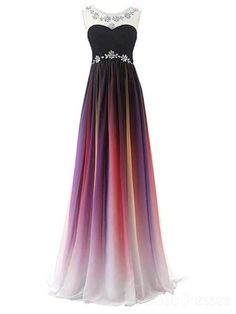 A-line Long Ombre Scoop Cap Sleeve Open Back Chiffon Bridesmaid Dresses Prom Dresses, STG, This dress could be custom made, there are no extra cost to do custom size and color. Ombre Bridesmaid Dresses, Cute Prom Dresses, Prom Dresses 2018, Elegant Dresses, Pretty Dresses, Beautiful Dresses, Evening Dresses, Chiffon Dresses, Sexy Dresses
