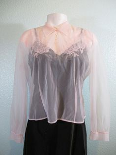 Vintage 40s Sheer Ballet Pink Blouse by buyathreadvintage on Etsy