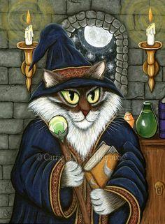 Cat Wizard Art Sorcerer Cat Merlin Magician Cat Painting Magic Maine Coon Cat Gothic Cat Art Fantasy Cat Art Print 8x10 Cat Lovers