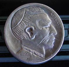 "US Buffalo Hobo Nickel Coin ""Chung King"" Folk Art Engraving Hobo Nickel, Paper Cutting, Folk Art, Buffalo, Coins, Ebay, Popular Art, Rooms, Water Buffalo"