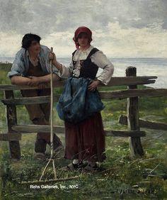 """""""Deux amoureux"""" by Julien Dupré (1851 - 1910)"""