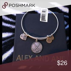 Alex and Ani bracelet with hockey accessory Brand new, never been worn if you make an offer I will check daily. Thank you. Alex & Ani Jewelry Bracelets