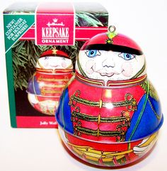 1991 HALLMARK Ornament Jolly Wolly Soldier tin litho Hallmark Ornaments, Holiday Ornaments, Christmas Bulbs, Holiday Decor, Tin, Vintage, Collection, Home Decor, Decoration Home