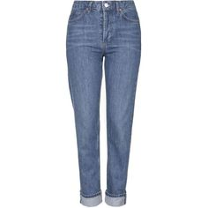 TOPSHOP MOTO Premium Selvedge Girlfriend Jeans ($85) ❤ liked on Polyvore featuring jeans, mid stone, cropped jeans, mid rise straight leg jeans, topshop, topshop jeans and straight leg jeans