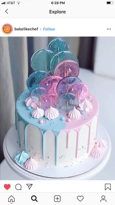 amazing cakes pink and blue candy melt cake with sprinkles Gorgeous Cakes, Pretty Cakes, Cute Cakes, Amazing Cakes, Fancy Cakes, Crazy Cakes, Candy Melts, Bolo Tumblr, Cake Cookies