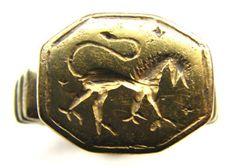 Rare Gold Gilt Medieval Seal Ring Griffin Circa: 13th - 14th Century.