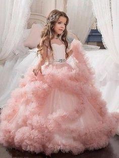 972c1c0202 Ball Gown Jewel Short Sleeves Crystal Floor-Length Tulle Flower Girl Dresses  Kids Gown