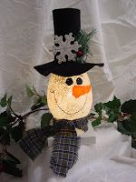 Glass Hurricane Snowman with painted features, a felt hat and plaid scarf.