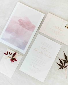 A Scenic, Nature-Inspired Wedding in Oregon | Martha Stewart Weddings - Ariel asked Etsy artist Miss Design Berry to create a custom piece based off a photo of the mountain view guests would have at the wedding. It was originally intended to be a print for guests to sign, but the bride loved it so much she opted to frame it as is. A smaller version of the piece was also included in the invitation suite along with a soft peach enclosure holding the response card and envelope, and a map.
